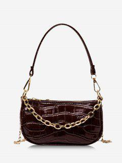 Chain Textured Shoulder Bag - Deep Coffee