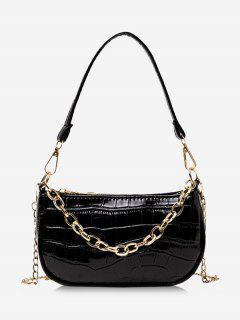 Chain Textured Shoulder Bag - Black