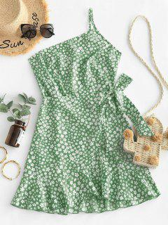 ZAFUL Ditsy Print One Shoulder Overlap Flounce Hem Dress - Dark Sea Green Xl