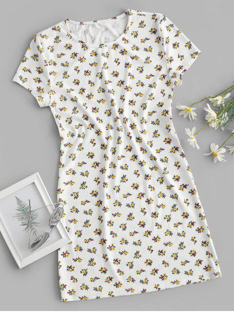 trendy Ribbed Ditsy Floral T-shirt Dress - WHITE S Mobile