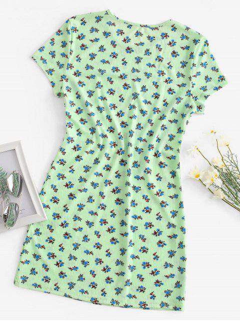 Robe Chemise Fleurie Côtelée - Vert S Mobile