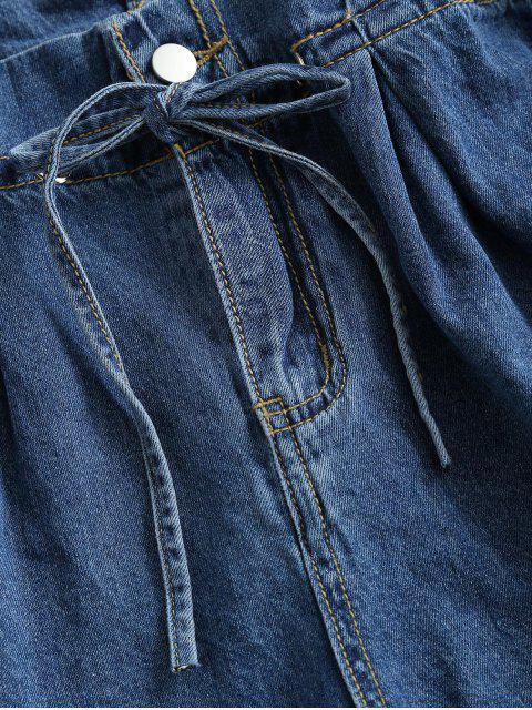 buy Denim Cuffed Hem Paperbag Shorts - DEEP BLUE M Mobile