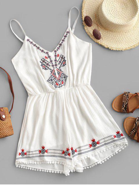 fashion Cami Crochet Trim Embroidered Romper - WHITE M Mobile