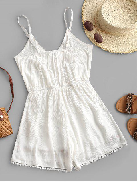 buy Cami Crochet Trim Embroidered Romper - WHITE L Mobile