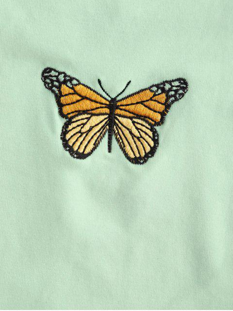 sale Butterfly Embroidered Crop Strapless Top - GREEN S Mobile