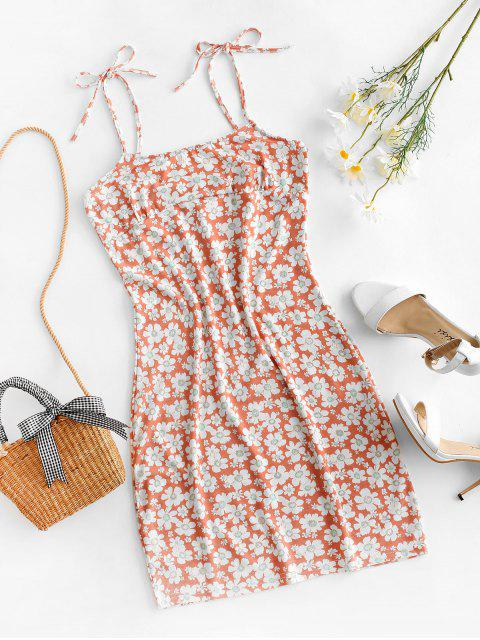 women's Tie Floral Bodycon Dress - PINK XL Mobile