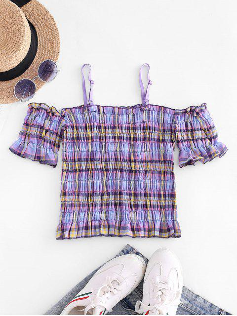 outfits Plaid Smocked Cold Shoulder Crop Top - LIGHT PURPLE ONE SIZE Mobile