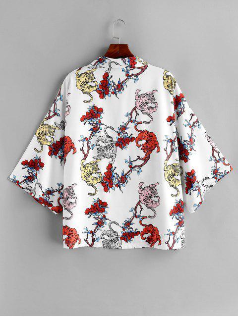 shops Tiger Floral Print Short Sleeves Shirt - WHITE 2XL Mobile