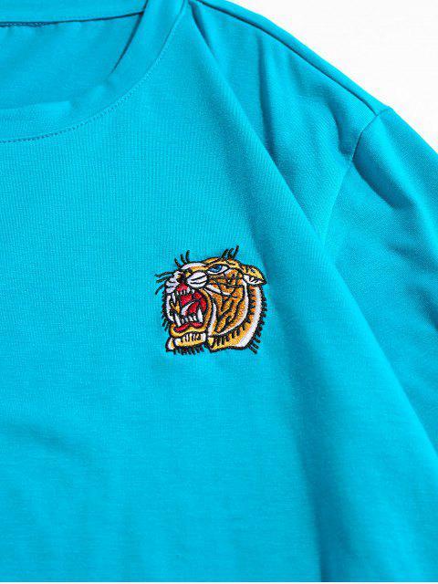 ZAFUL T-shirt de Mangas Curtas Bordado de Tigre - Zircão Azul 2XL Mobile