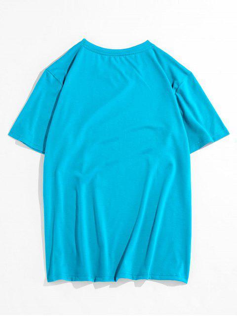 T-Shirt Stampata Tigre con Maniche Corte di ZAFUL - Blu Zirconio 2XL Mobile