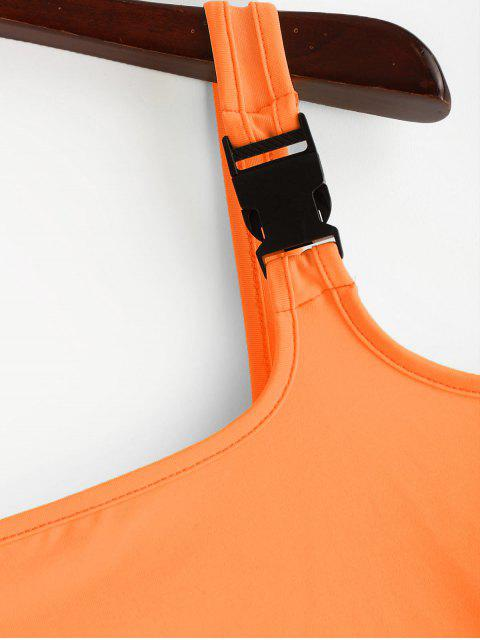 Schnallenriemen Neon Crop Tank Top - Orange M Mobile