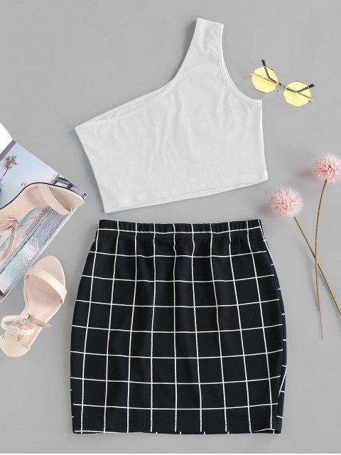 ZAFUL Einziger Schulter Gitter Zweiteiliges Kleid - Weiß S Mobile