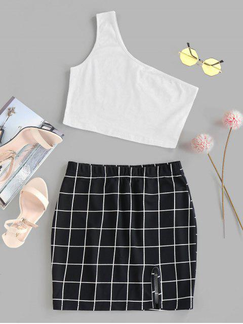 outfits ZAFUL One Shoulder  Grid Two Piece Dress - WHITE M Mobile