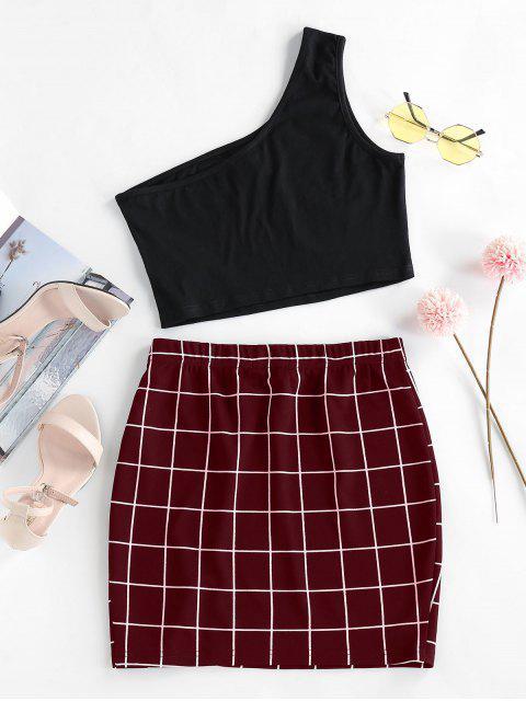 buy ZAFUL One Shoulder  Grid Two Piece Dress - FIREBRICK L Mobile