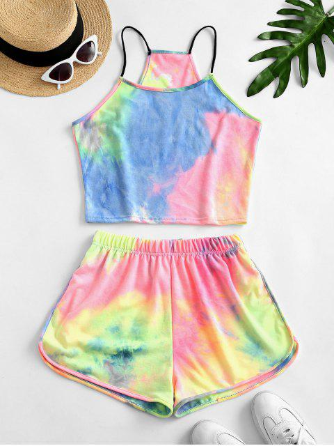 hot Rainbow Tie Dye Top And Shorts Set - GREEN S Mobile