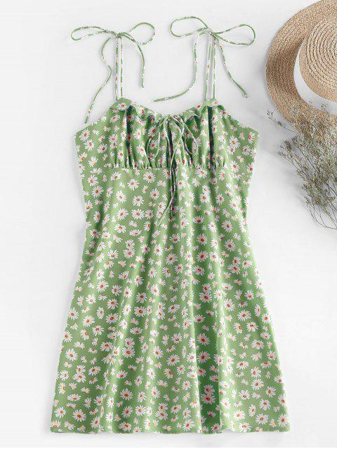 outfit ZAFUL Daisy Print Tie Shoulder Ruffle Mini Dress - GREEN S Mobile
