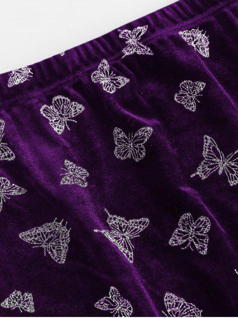 affordable ZAFUL Glitter Butterfly Velvet Skirt - DARK ORCHID L Mobile