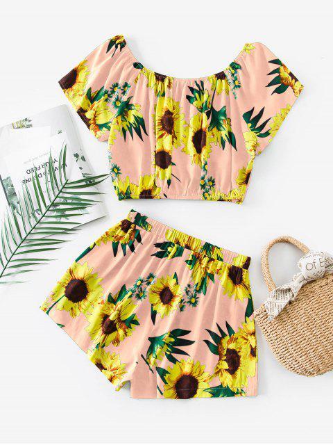 ZAFUL Sunflower Print Co Ord Set - زهري M Mobile