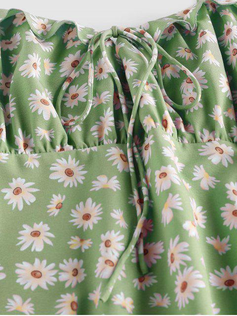 ZAFUL Mini Robe Marguerite Imprimée à Epaule Nouée à Volants - Vert XL Mobile