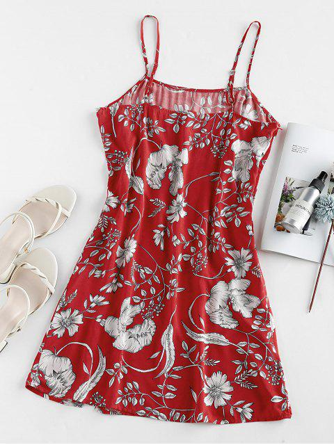 unique ZAFUL Floral Print Slit Mini Cami Dress - RED S Mobile