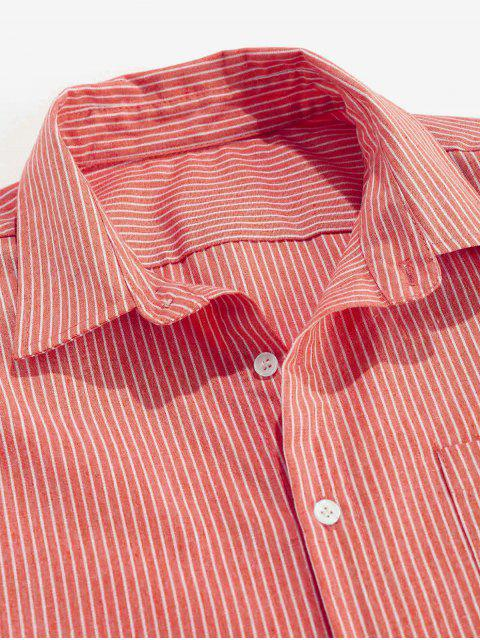 fancy ZAFUL Stripe Pocket Button Up Shirt - RED XL Mobile