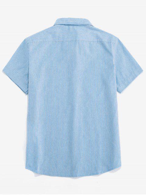 women ZAFUL Stripe Pocket Button Up Shirt - LIGHT BLUE 2XL Mobile