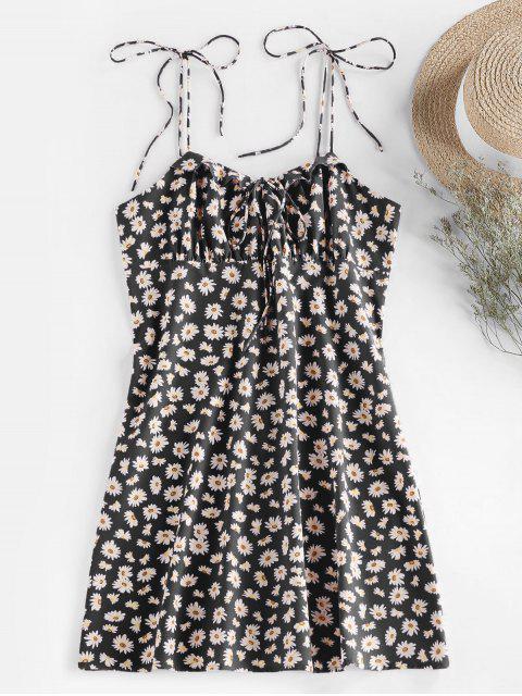 ladies ZAFUL Daisy Print Tie Shoulder Ruffle Mini Dress - BLACK S Mobile