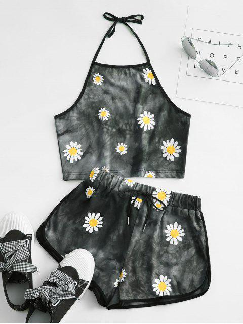 chic Halter Daisy Tie Dye Two Piece Set - GRAY XL Mobile