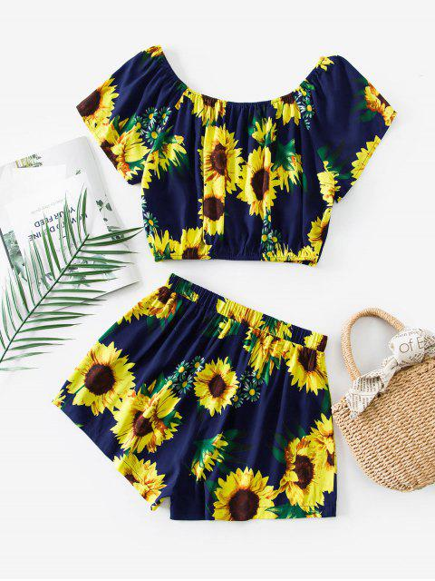 hot ZAFUL Sunflower Print Co Ord Set - CADETBLUE M Mobile