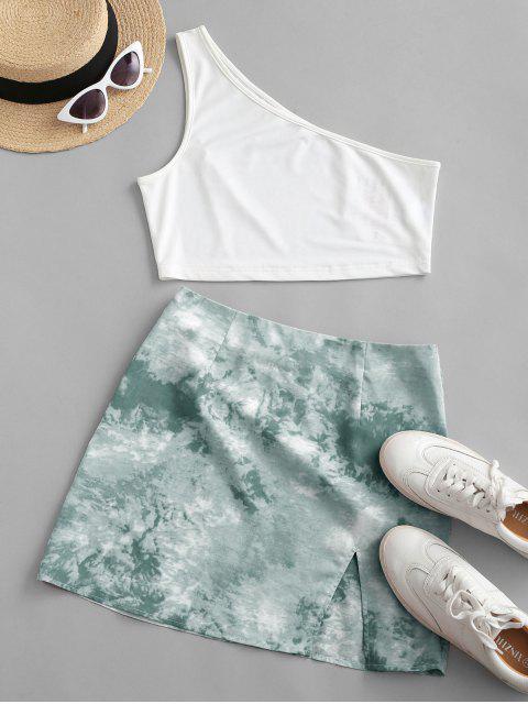 chic ZAFUL One Shoulder Tie Dye Slit Two Piece Dress - LIGHT GREEN XL Mobile