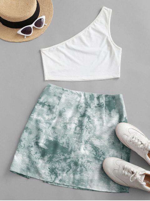fancy ZAFUL One Shoulder Tie Dye Slit Two Piece Dress - LIGHT GREEN S Mobile