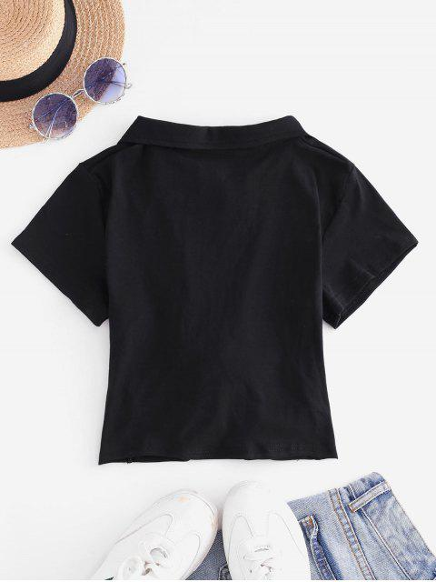 ladies Embroidered Twist Front Cropped Top - BLACK L Mobile