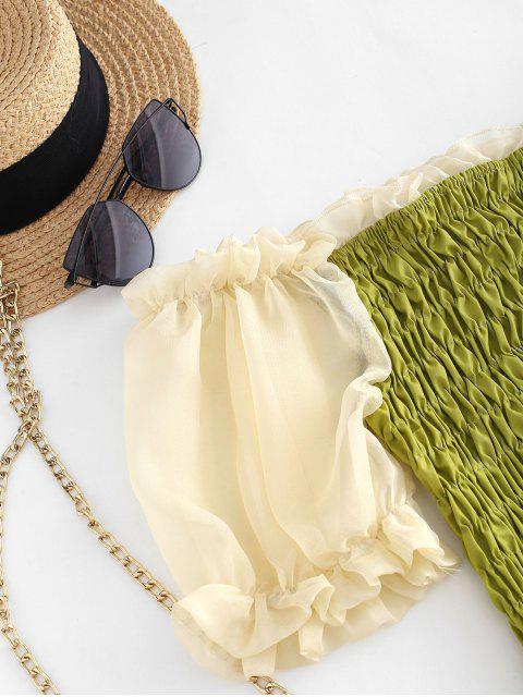latest Sheer Puff Sleeve Smocked Ruffle Top - GREEN M Mobile