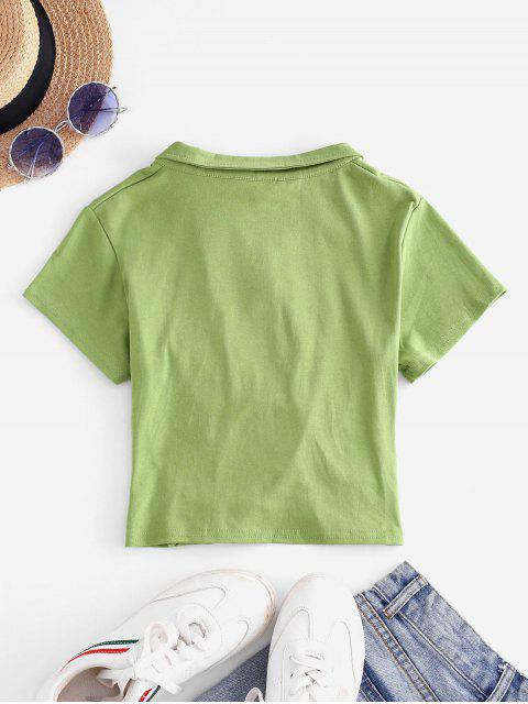 fashion Embroidered Twist Front Cropped Top - LIGHT GREEN XL Mobile