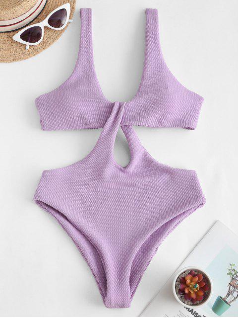 Texture Twisted Cutout Trikini Swimsuit - خبازي M Mobile