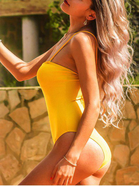 sale ZAFUL Ribbed One-piece High Cut Swimsuit - YELLOW S Mobile