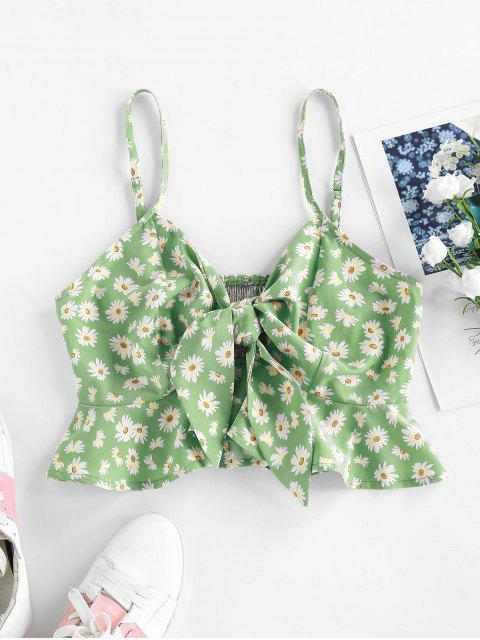 new ZAFUL Daisy Print Shirred Tied Peplum Crop Cami Top - GREEN M Mobile