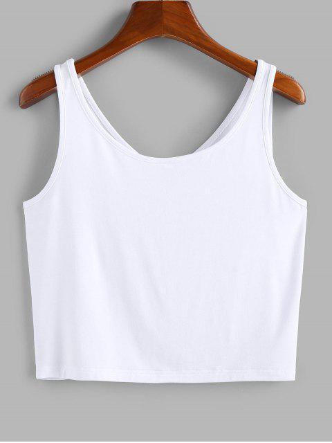 fancy ZAFUL Heather V Neck Crop Tank Top - WHITE M Mobile