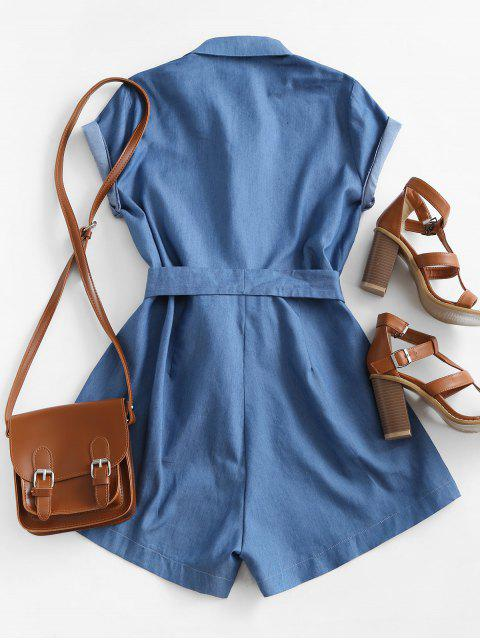fashion Belted Pockets Chambray Cargo Romper - BLUE S Mobile