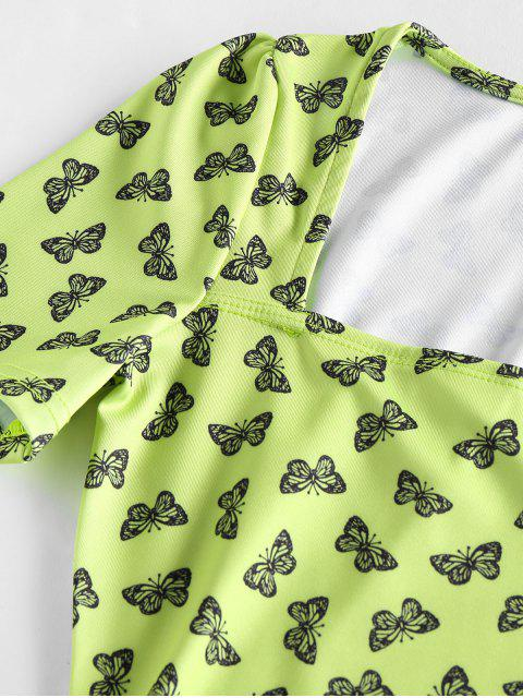 shops Butterfly Print Square Neck Mini Dress - LIGHT GREEN S Mobile