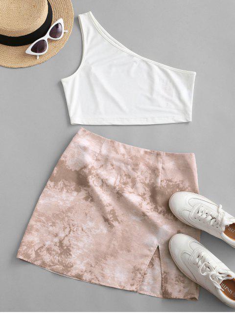 shops ZAFUL One Shoulder Tie Dye Slit Two Piece Dress - LIGHT KHAKI L Mobile