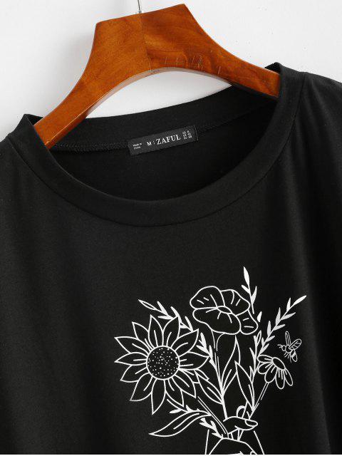 fashion Sketch Flower Oversized Drop Shoulder Boyfriend Tee - BLACK XL Mobile