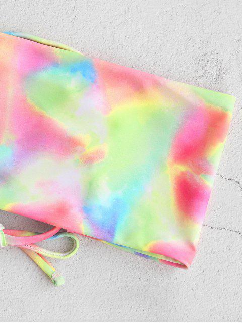 shop ZAFUL Tie Dye Lace-up Bandeau Bikini Swimwear - LIGHT PINK L Mobile