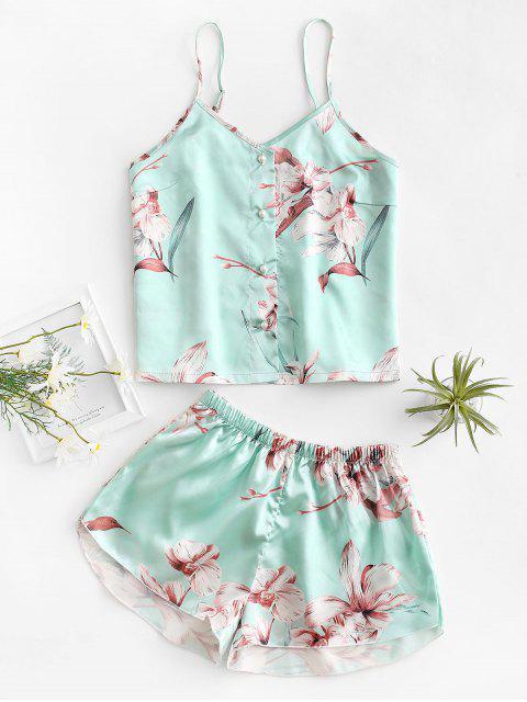 Blumendruck Knopf Cami Pyjama Set - Hellgrün XL Mobile
