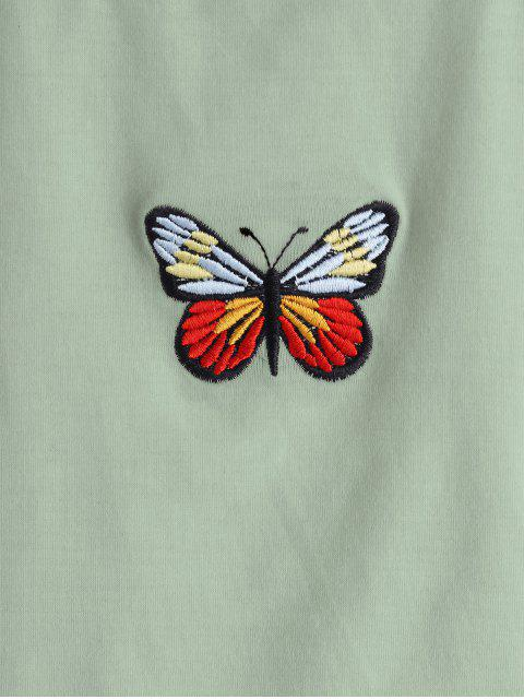 unique ZAFUL Butterfly Embroidered Crop Tank Top - LIGHT GREEN S Mobile