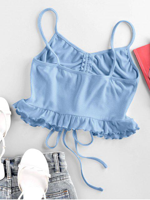 fancy ZAFUL Cinched Flounce Cropped Cami Top - LIGHT SKY BLUE L Mobile