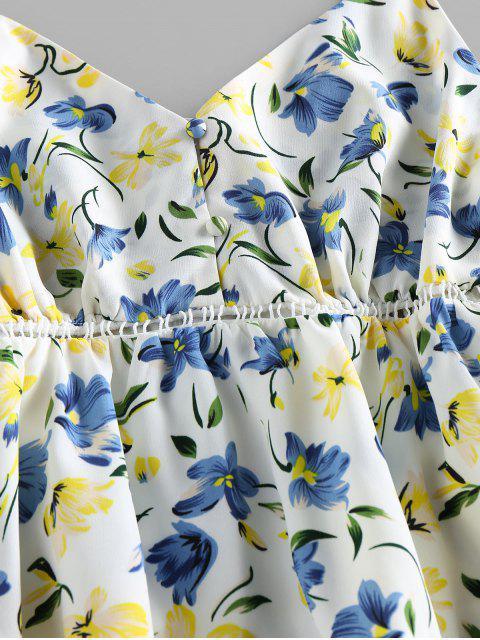 ZAFUL Blumendruck Mini Cami Kleid - Weiß L Mobile