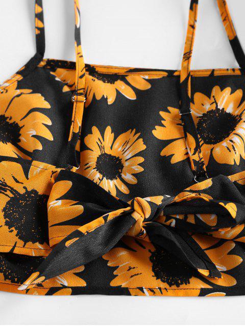 ZAFUL Verknotetes Sonnenblumen Rüsche Zweiteiler Set - Schwarz L Mobile