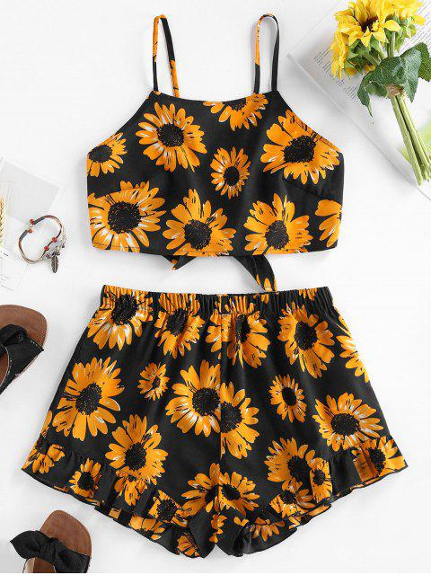 shops ZAFUL Sunflower Knotted Ruffle Two Piece Set - BLACK M Mobile