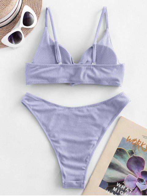 ZAFUL Maillot de Bain Bikini Côtelé Noué Sur le Côté - Violet clair L Mobile